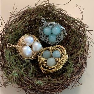 Jewelry - Handmade wired bird nests pendants